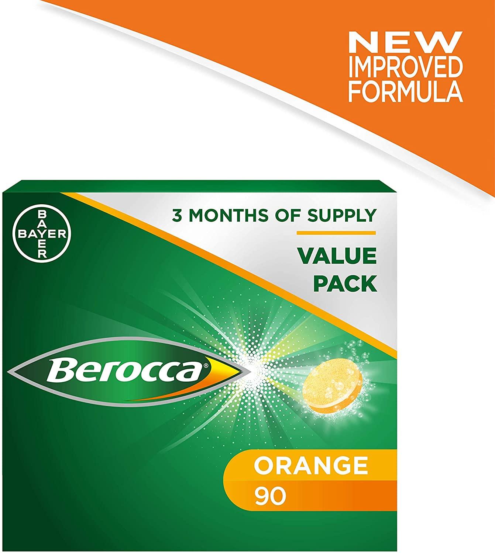 Berocca Effervescent Energy Tablets Orange Flavour – 90 Tablets