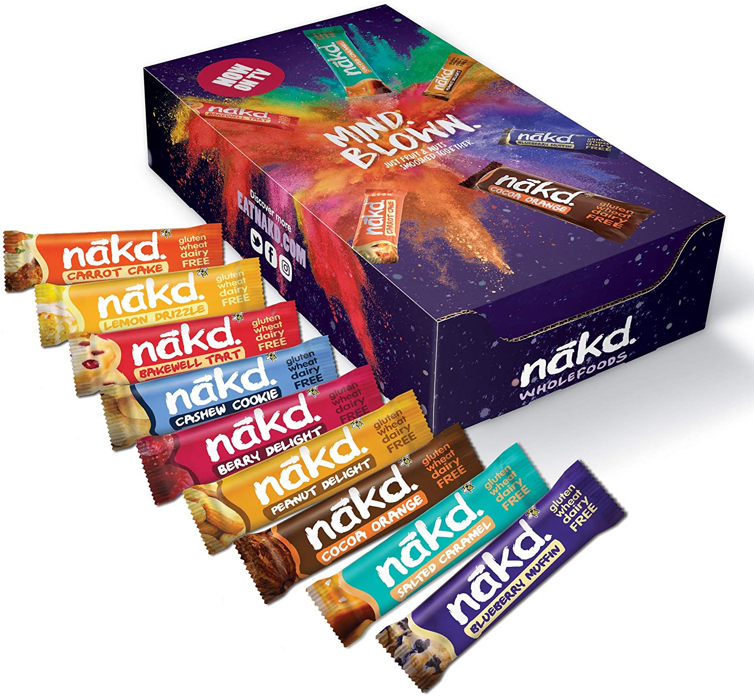 Nakd Mind Blown Fruit and Nut Bar Mixed Case – Box of 18x35g
